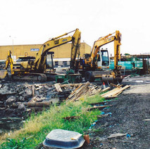 Diggers working on the upgrade to the Forth & Clyde canal. British Waterways' Millennium Project saw the regeneration of the canal and it was re-opened to boats in 2001.  -  2000