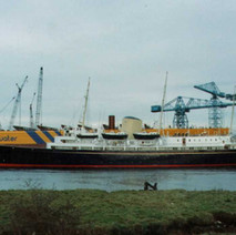 Royal Yacht Britannia passing her birth place in Clydebank  -  1990s