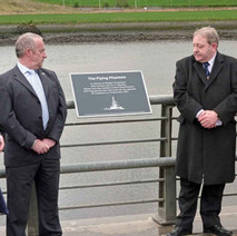 The plaque in memory of the crew of the Flying Phantom, unveiled by Provost Denis Agnew at Queens Quay, Clydebank 1st May 2010 - Saturday 1st May 2010