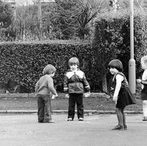 Jennifer playing with her friends in Low Crescent. - March 9th 1981 Whitecrook