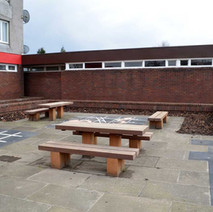 New picnic area and games painted on the ground behind the cafe.  -  12th February 2013