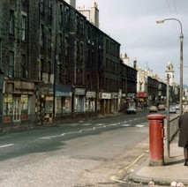 Glasgow Road shops and tenements. 1978 - Photo by Tommy Quinn.