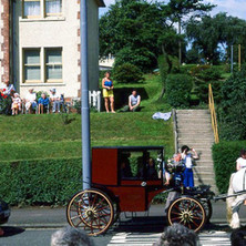 People in their gardens in Parkhall watching the procession. Clydebank Centenary Celebrations 1986 - photo by Sam Gibson