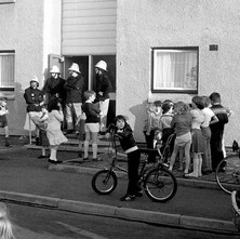 Firemen on a callout at Summerston. Check out the Chopper bike. - Saturday 17th May 1980