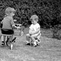 Jennifer with our neighbour's boy Barry. - 21st May 1980