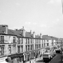 Dumbarton Road looking towards the Seven Seas on the corner of kilbowie Road. Photo taken from the Town Hall. - Photo by William Duncan