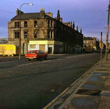 Gerry's Snack Bar and Pat Noble the bookies on the corner. Tenements waiting for demolition. - Glasgow Road 1978