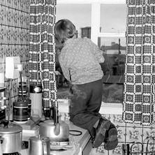 Helen's nephew, Jamie cleaning our windows for Bob-a-Job Week  - Janusry 1979