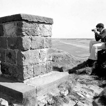 Davie taking photos on Dumbarton Rock. - August 26th 1978