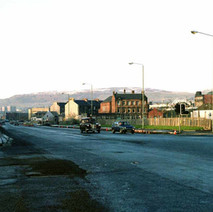 Glasgow Road, with the Old Kilpatrick Hills in the background. - 3rd December 1982