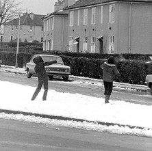 Snowball fight in Sinclair Street, Whitecrook  -  2nd February 1980