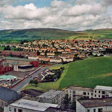 A view from the Radnor Park flats looking towards the High Park and Clydebank High School. - Photo by Philip MacKay. May 1988
