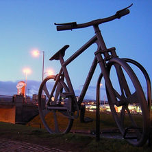 Mark Beaumont was asked to officially name the giant sculpture 'Bankies Bike' at a ceremony in Clydebank. The huge cycle, designed by artist John Crosby, is 11ft by 19ft. - 6th February 2009 - On the Forth & Clyde Canal cycle path, Clydebank