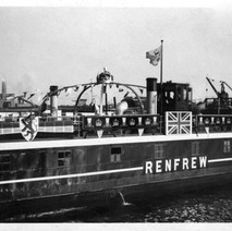 I found this old photo of the Renfrew Ferry in amongst some old family photos. I don't know who took it, or when or why it was decked out like this.