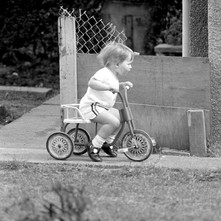 Jennifer on her bike at Low Crescent. - 21st May 1980