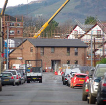 Looking down John Knox Street at the new housing development being built on the site of the former St Andrew's School, which was demolished several years ago.  -  9th January 2020