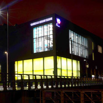 The Clydebank Leisure Centre shining bright down beside the Clyde. - 7th February 2018
