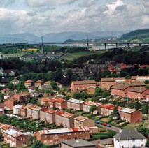 A view from the Radnor Park flats looking towards the Erskine Bridge. - Photo by Philip MacKay. May 1988