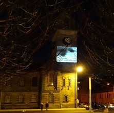 Projection on the Clydebank Town Hall about an Exhibition by Robert Maplethorpe that is coming soon.  -  26th February 2015