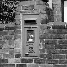 Post box in the wall, Wakefield. - Yorkshire 12th july 1979