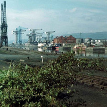 Rothesay Dock and the shipyard cranes in the distance. - Photo by Tommy Quinn. October 1978
