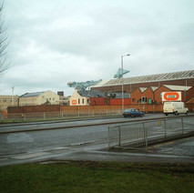 Looking towards the UIE shipyard and John Brown Engineering from Glasgow Road.  -  27th January 2002