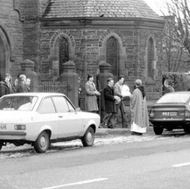 Mass coming out of Our Holy Redeemer's Church - 3rd February 1980 Glasgow Road, Clydebank
