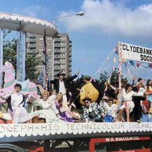 The Clydebank Musical Society float turning into Second Avenue. Clydebank Centenary Celebrations 1986 - photo by Wallace McIntyre