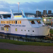 """The """"floating chippy"""" is actually fixed into the bank of the canal, but it does have the right to call itself the """"World's first Sail-thru' Fish & Chip Take Away"""".  - Clyde Shopping Centre 6th February 2009"""