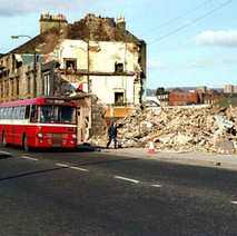 Connolly's Pub on Glasgow Road being demolished to make way for the Clydeside Expressway. - March 1980