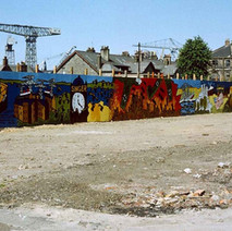 Very colourful wall paintings on Glasgow Road depicting the history of Clydebank. Glasgow Road, Clydebank 18th June 1978