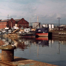 Ships moored in the Rothesay Dock. - Photo by Tommy Quinn. October 1978