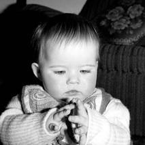 Jennifer studying her hands. - Whitecrook January 1979