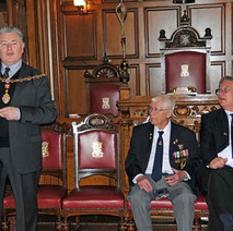 Speech time. The Provost, Denis Agnew, gives Freddie a big warm welcome to Clydebank. - Sunday 25th April 2010 Clydebank