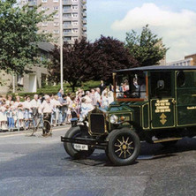 The Armac Printing truck on Kilbowie Road turning into Second Avenue. Clydebank Centenary Celebrations 1986 - photo by Wallace McIntyre