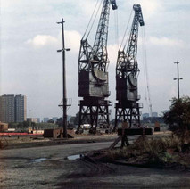 Two of the Rothesay Dock cranes. - Photo by Tommy Quinn. October 1978