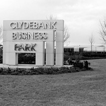 The main entrance sign at the Clyde Business Park. Kilbowie Road  - 10th February 1985