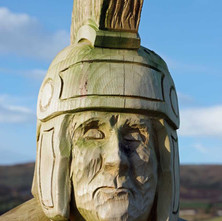A wood carved Roman Soldier in the new play Area in the Goldenhill Park. The playpark was developed with children from Goldenhill Primary School and celebrates the Roman heritage of the area and help to raise awareness of the Roman Fort.  -  23rd January 2021