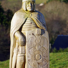 Wooden Roman soldier standing guard in the Goldenhill Park play area. This was part of the upgrade in 2019.  -  23rd January 2021