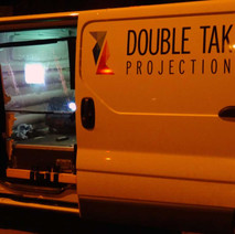 Double Take Projections van outside the Clydebank Town Hall.  -  26th February 2015