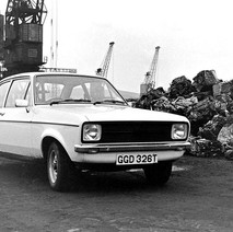 Rothesay Dock. - This was my first and last brand new car and it was bright yellow! Thank goodness for black & white. - 8th March 1980