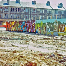 Wall paintings. Part of this painting depicts Dalmuir Park. - Glasgow Road, Clydebank June 1978