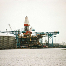 a rig being built in the UIE shipyard on the River Clyde, Clydebank.  -  1994
