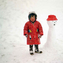 My daughter Jennifer wanted to go out, even in the middle of a snow storm to make a snowman, so we did.  -  Whitecrook, Clydebank January 1981