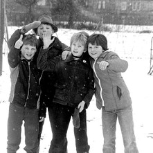 Boys having fun in the snow in Whitecrook Park. - 3rd February 1980