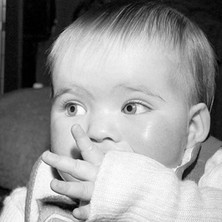 Jennifer sucking her thumb. - Whitecrook January 1979