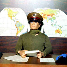 Action Man sitting at his desk. I made all the little phones and control panels and little sheets of paper. - 26th September 1977 Dunedin Terrace, Clydebank