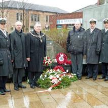 Denis Agnew with the Polish representatives at Solidarity Plaza. - 12th March 2011