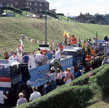 Clydebank Centenary floats in Parkhall. Clydebank Centenary Celebrations 1986 - photo by Sam Gibson