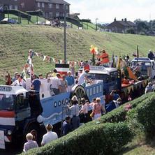 Clydebank Centenary floats in Parkhall. Clydebank Centenary Celebrations 1986 - photo by Sam Gibson
